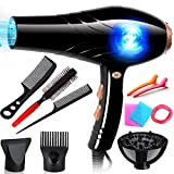 Nclon 3000w Powerful Dry hair dryer Salon tools,Household Professional Cold air Concentrator nozzle Diffuser Faster drying Anion-black