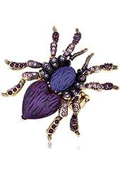 Alilang Stretchy Gold Tone Purple Rhinestones Heart Spider Tarantula Ring