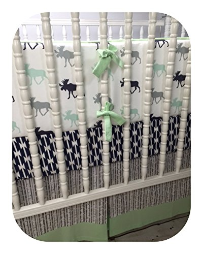 (Moose and Tomahawk Boy Crib Bedding in Mint, Gray and Navy)