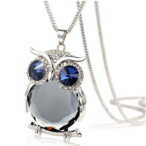 Grey Ruiting Fashion Women's Owl Crystal Jewelry Pendant Silver Chain Long Necklace Sweater Chain
