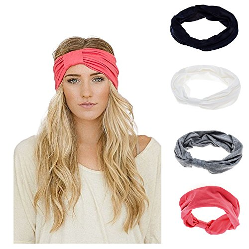 Headband Wrap Do Cotton (Ever Fairy Women Elastic Turban Head Wrap Headband Twisted Hair Band (4 Color Pack G))