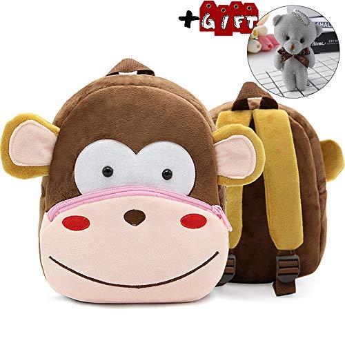 Zoo Toddler Kids Backpacks Cute Plush Little Girls Boys Animal Backpacks(Monkey)