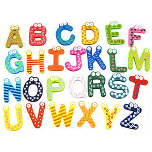 26pcs Wooden Cartoon Alphabet A-Z Magnets, Witspace Magnetic ABC Wooden Fridge Alphabet Toys Boys Girls Educational Toys