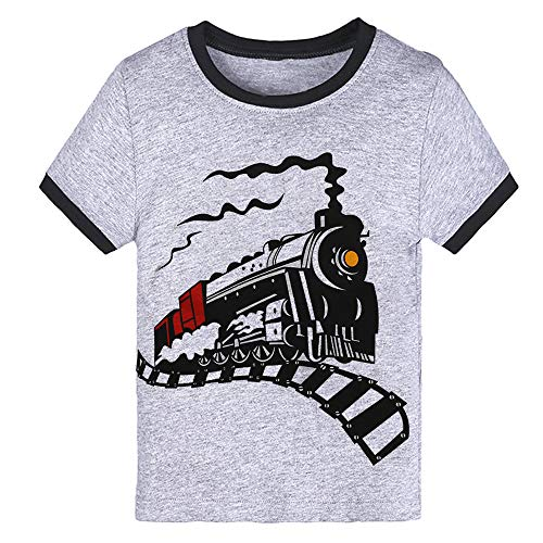 0545e9ab85ec9 Little Boys Toddler Steam Train Gray T-Shirt Short Sleeve Tee T Shirt Size 3