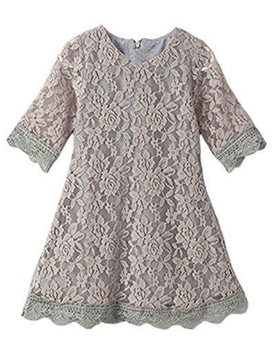 CVERRE Flower Girl Lace Dress Country Dresses with Sleeves 1-6 7-16 (Gray,130)