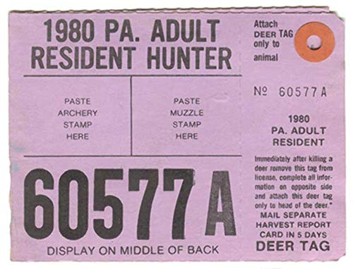 1980 Adult Resident Hunter PA Hunting License - #60577A, used for sale  Delivered anywhere in USA