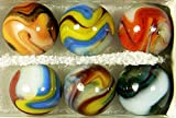 """Unique & Custom {3/4"""" Inch} Set of 6 Large """"Round"""" Opaque Marbles Made of Glass for Filling Vases, Games & Decor w/ Shiny Swirled Contemporary Design [Assorted Colors] w/ Collectors Box"""