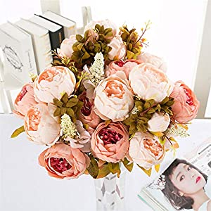TMROW Vintage Artificial Peony Silk Flowers Bouquet Home Wedding Decoration 47