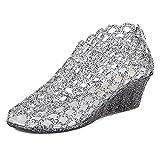 xsby Mesh High Heel Jelly Shoes, Women's Jelly Wedge Beach Sandals High Heels Glass Slipper Shoe 37(Black-A)