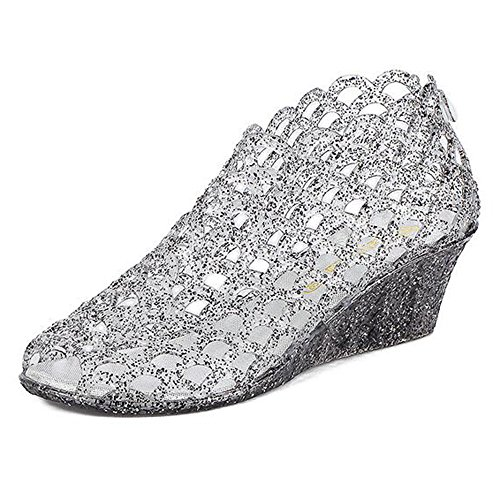 Jane Powder Shimmering - xsby Wedge Glitter Jelly High Heels, Crystal Upper Shimmering Powder Binding Bird Nest Sandals 36(Black-A)