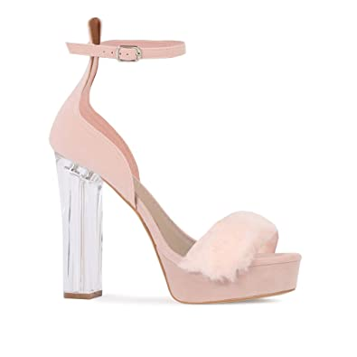 ce28419f801b Womens Buckled Fluffy Toe Perspex Platform Heels Blush Pink Faux Suede 3