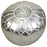 22'' Moroccan silver Pouf leather Ottoman Footstool Pouffe Hassock New Pouff poof
