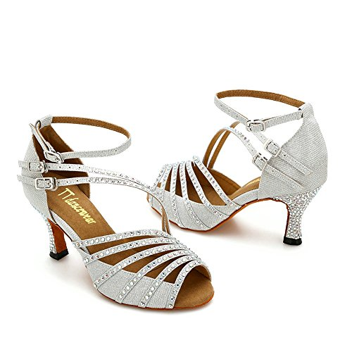 Ballroom Heels TTdancewear Dance Salsa Dance Silver Rhinestone Latin Shoes Women Shoes 2 Performance 5inch OwCrO0tq