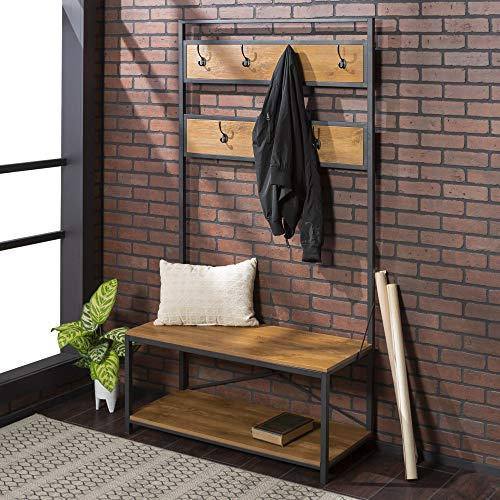 New 72 Inch Tall Hall Tree-Barnwood Color (With Hallway Bench Hooks)