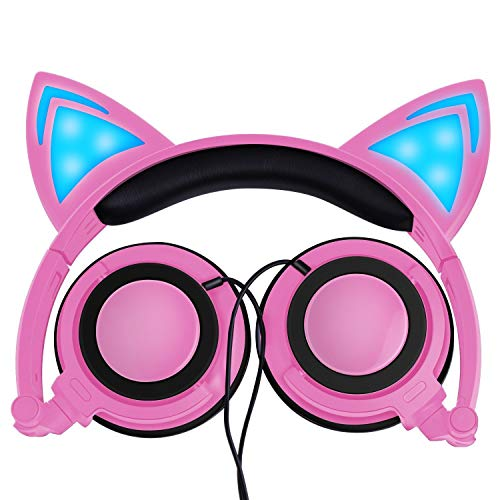 Kids Cat Ear Headphones for Girls Boys Toddlers with LED Light Wired Foldable Over/On Earphones Game Headset for Phone PC Electronic Learning Toy School Supplies Prize for Classroom