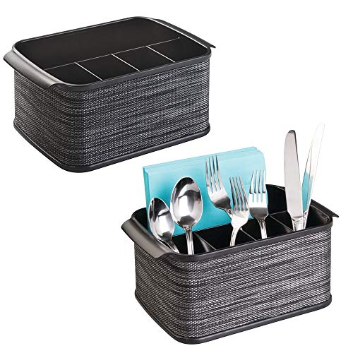 mDesign Plastic Cutlery Storage Organizer Caddy Tote Bin with Handles for Kitchen Cabinet or Pantry - Holds Forks, Knives, Spoons, Napkins - Indoor or Outdoor Use - Woven Accent, 2 Pack - Black