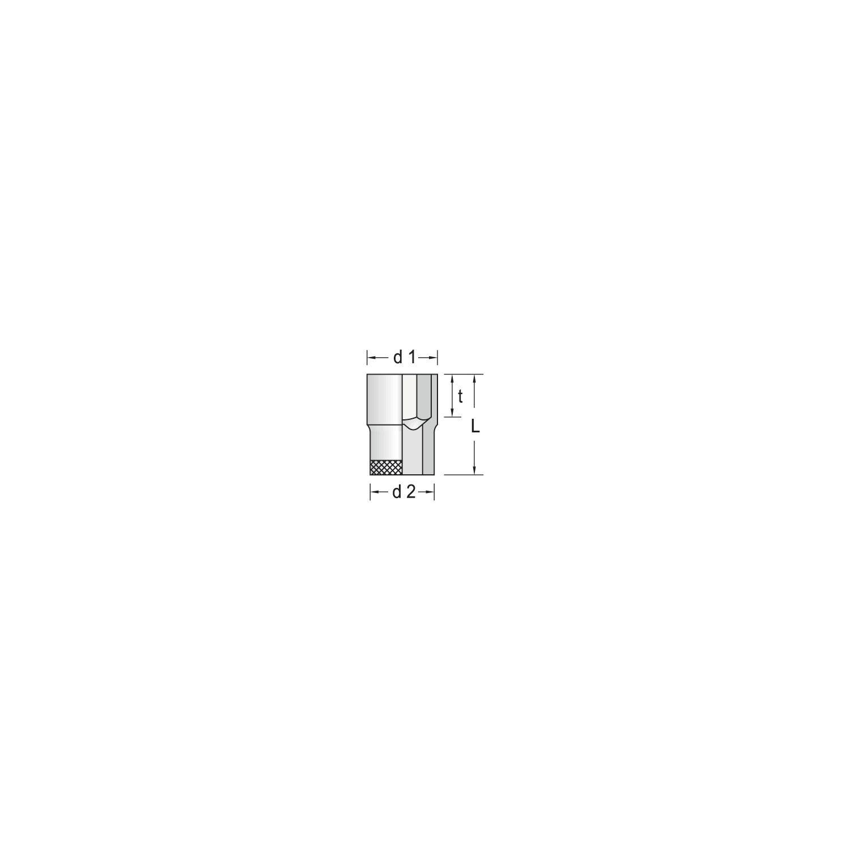 verchromt GEDORE 19 22 6134600 Steckschl/üsseleinsatz 1//2 6-kant 22 mm