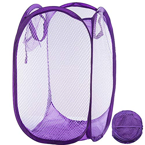 Qtopun Mesh Popup Laundry Hamper Foldable Laundry Basket Portable Dirty Clothes Basket Collapsible Dirty Clothes Hamper for Bedroom, Kids Room, College Dormitory and Travel-Purple (Purple Hamper)