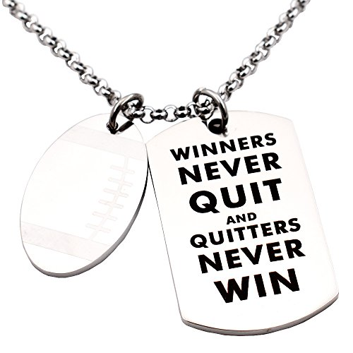 - N.egret Hall of Fame Football Pendant Necklace Chain Sports Jewelry Inspirational Quote Baseball Gift teens Daughter Son (Football)