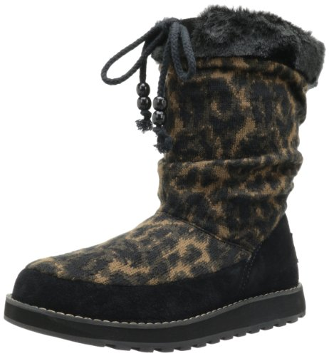 Keepsakes Snow Womens Knit animal Boot Skechers Black qxHw6U65