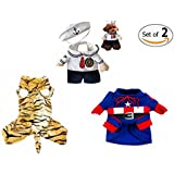 Dog Holiday Clothes Set of 2, Cat Costume Jumpsuit for Party Birthday