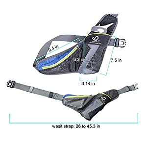 WATERFLY Running Belt Waist Bag with Water Bottle Holder for Phone 5.5 inch iPhone 6 / 7Plus / Outdoor Sports Pack Pouch for Running Hiking Walking Cycling