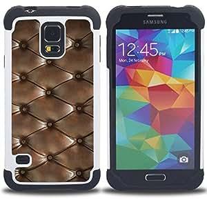 - diamond pattern leather texture/ H??brido 3in1 Deluxe Impreso duro Soft Alto Impacto caja de la armadura Defender - SHIMIN CAO - For Samsung Galaxy S5 I9600 G9009 G9008V