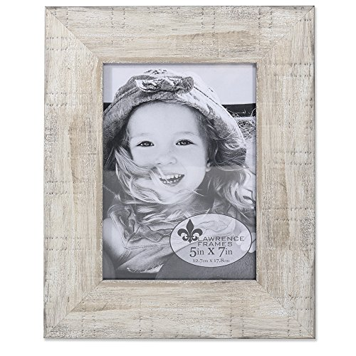 (Lawrence Frames Weathered Pearlized Maple, 5x7, White )