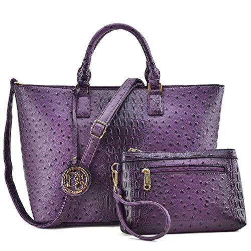 Women Vegan Ostrich Leather Handbag Tote Bag Top Handle Purse Satchel Hobo Bag 2 Handbags Set (Purple)