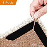 Homics Rug Grippers 8pcs Anti Curling Carpet Gripper, Ideal Rug Stoppers to Keep Your Rug in Place and Make Corners & Edges Flat, Renewable Large Size Grippers for Any Rugs