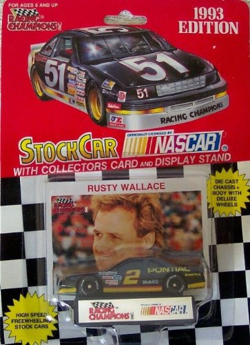 1993 NASCAR Racing Champions . . . Rusty Wallace #2 Mobil 1 Pontiac Grand Prix 1/64 Diecast Includes Collector's Card and Display Stand (Rusty Wallace Nascar Card)