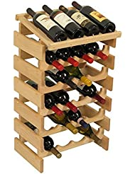Dakota 24 Bottle Wine Rack With Display Top Quad Row WRD45 By Wooden Mallet