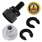 Seat Bolt Screw Nut Kit Black for Harley Davidson 1996-2016 Fender Quick Mount Knurled Sides Hard Anodized 1/4