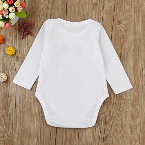 Omiky® Neugeborene Baby-Jungen-Mädchen-Buchstabe Bowknot-Druck-Spielanzug-Overall-Ausstattungs-Kleidung Weiß