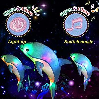 Glow Guards Light up Musical Stuffed Dolphin Ocean Life Soft Plush Toy with LED Night Lights Nursery Songs Glow Singing Sea Animals Birthday for Toddler Kids, 18'': Toys & Games