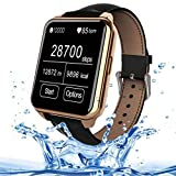 Qkking New CPU:MTK2502 F2 Unisex Bluetooth Smart Watch Waterproof IP67 Support Sync Phone Call Pedometer Anti-lost Heart Rate Smartwatch for IOS and Android System Smartphones-Gold
