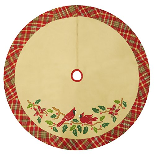 "48"" Fleece Cardinal Christmas Tree Skirt with Plaid Border, Applique & Embroidery"