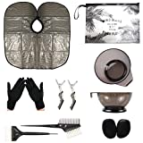 HYOUJIN 11Pcs Black Hair Coloring Dyeing Kit DIY Beauty Salon Tool KitCome with Beach Design Transparent Comestic Clutch Bag