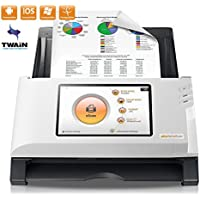 Plustek eScan A150 Wireless Network Document Scanner 【Come with Self-ink Scanned Stamp Bundle】- Stand Alone 7 touchscreen - 50 sheet auto document feeder (ADF) - Support TWAIN / PC and Mac
