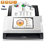 Plustek eScan A150 Wireless Network Document Scanner 【Come with Self-ink Scanned Stamp Bundle】- Stand Alone 7'' touchscreen - 50 sheet auto document feeder (ADF) - Support TWAIN / PC and Mac