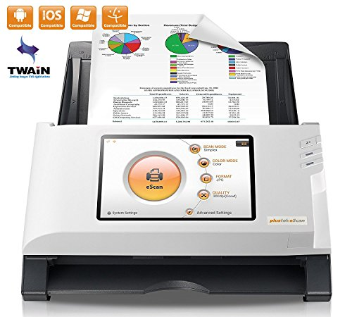 Plustek eScan A150 Wireless Network Document Scanner 【Come with Self-ink Scanned Stamp Bundle】- Stand Alone 7″ touchscreen – 50 sheet auto document feeder (ADF) – Support TWAIN / PC and Mac
