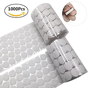 1000pcs adhesive (500 Pair Sets) 0.78in Diameter Sticky Back Coins Hook & Loop Self Adhesive Dots Tapes (White)