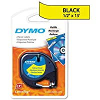 Genuine DYMO Black on Hyper Yellow Polyester LetraTAG Tape Label for Dymo LetraTag Plus LT100H Label Maker