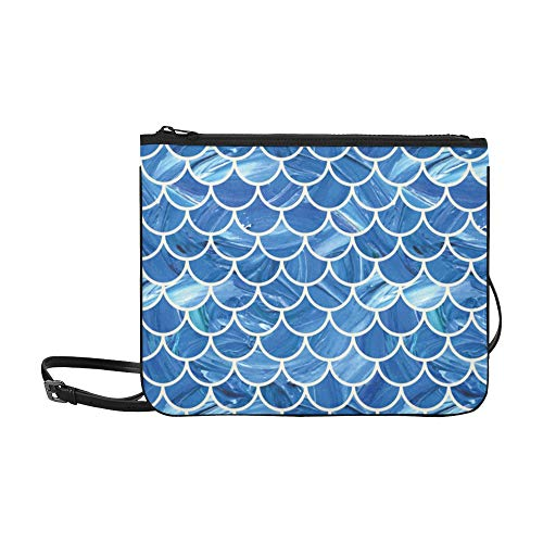 Fold Clutch Beaded Over (Oil Painted Mermaid Fish Scale Scallop Pattern Blue Pattern Custom High-grade Nylon Slim Clutch Bag Cross-body Bag Shoulder Bag)