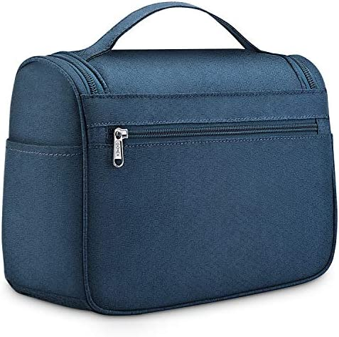 Gonex Hanging Travel Toiletry Bag for Women Men Family Cosmetics Makeup Bag Organizer Dopp Kit Pouch for Bathroom Water-Resistant with Strong Zippers (Blue)
