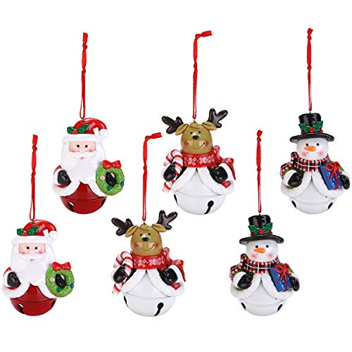 Sea Team Assorted Clay Figurine Jingle Bell Ornaments Traditional Snowman, Santa Clause, Reindeer Doll Hanging Charms Christmas Tree Ornament Holiday Decorations (6 ()
