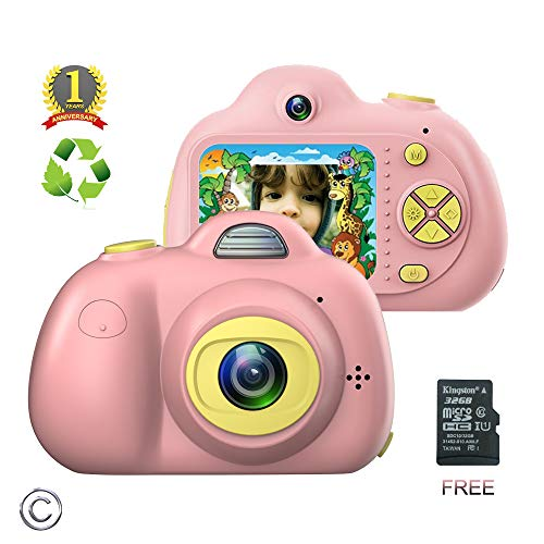 Kids Camera for girls or boys - anti-drop kid digital camera with Soft Silicone Shell and 8 Mega pixel Dual lens 2.0 inch HD screen with Mic, great gift for 4-8 Year Old Girls (32G TF card includ) (Best Gifts For 8 Yr Old Girl)