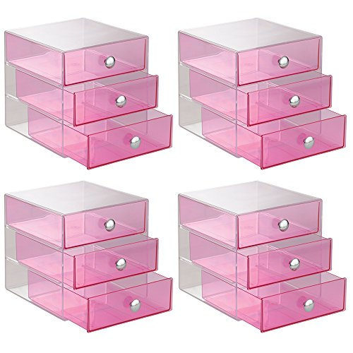 InterDesign 3-Drawer Storage Organizer for Cosmetics, Makeup, Beauty Products or Kitchen/ Office Supplies, Berry, Set of 4