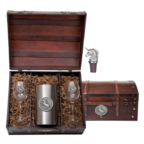 1pc, Pewter Unicorn Wine Chest Set, chiller, two (12 ounce) glass goblets, and a bottle stopper.
