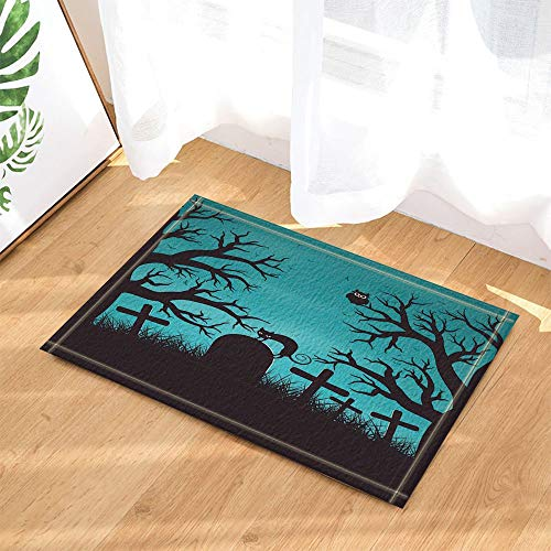 Halloween in Wood Decor Cat on Tombstone with Trees Bat Owls Bath Rugs Non-Slip Doormat Indoor 23.6X15.7IN -